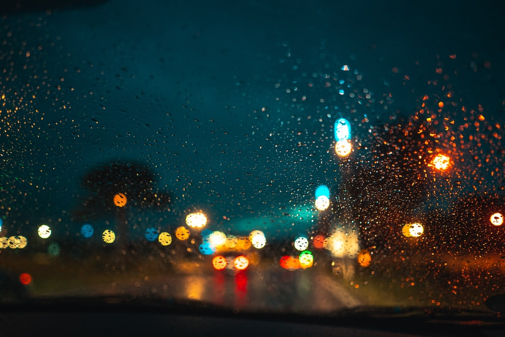 water droplets on car windshield