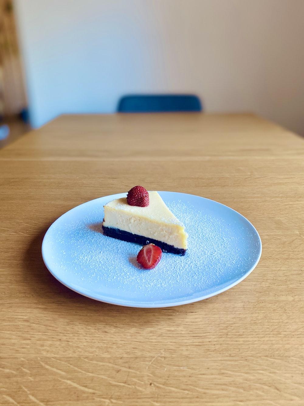 strawberry cake on white ceramic plate