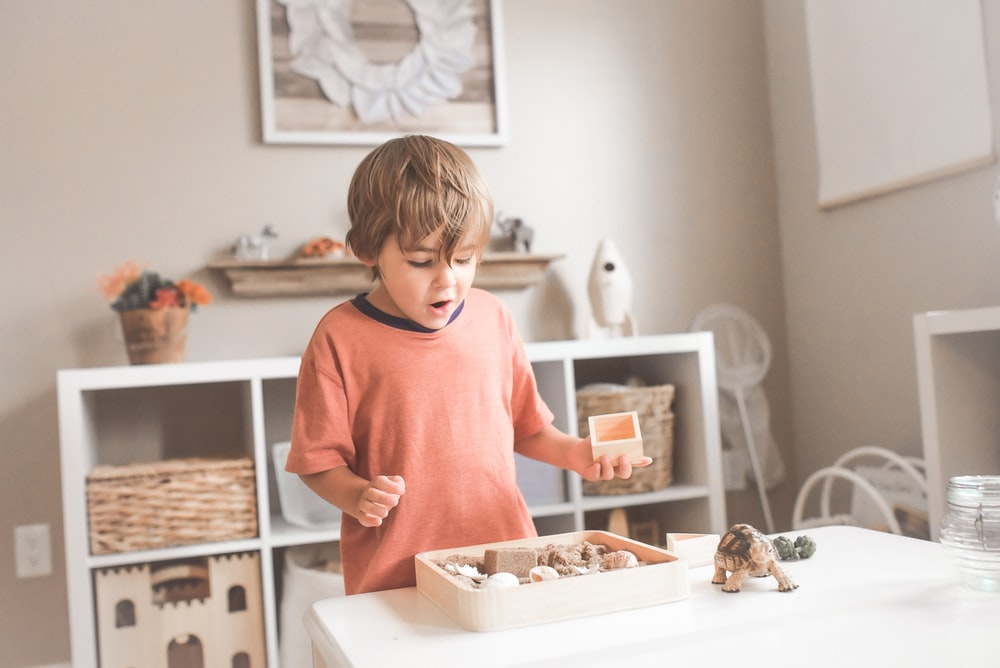 boy in orange crew neck t-shirt standing in front of white wooden table with cupcakes