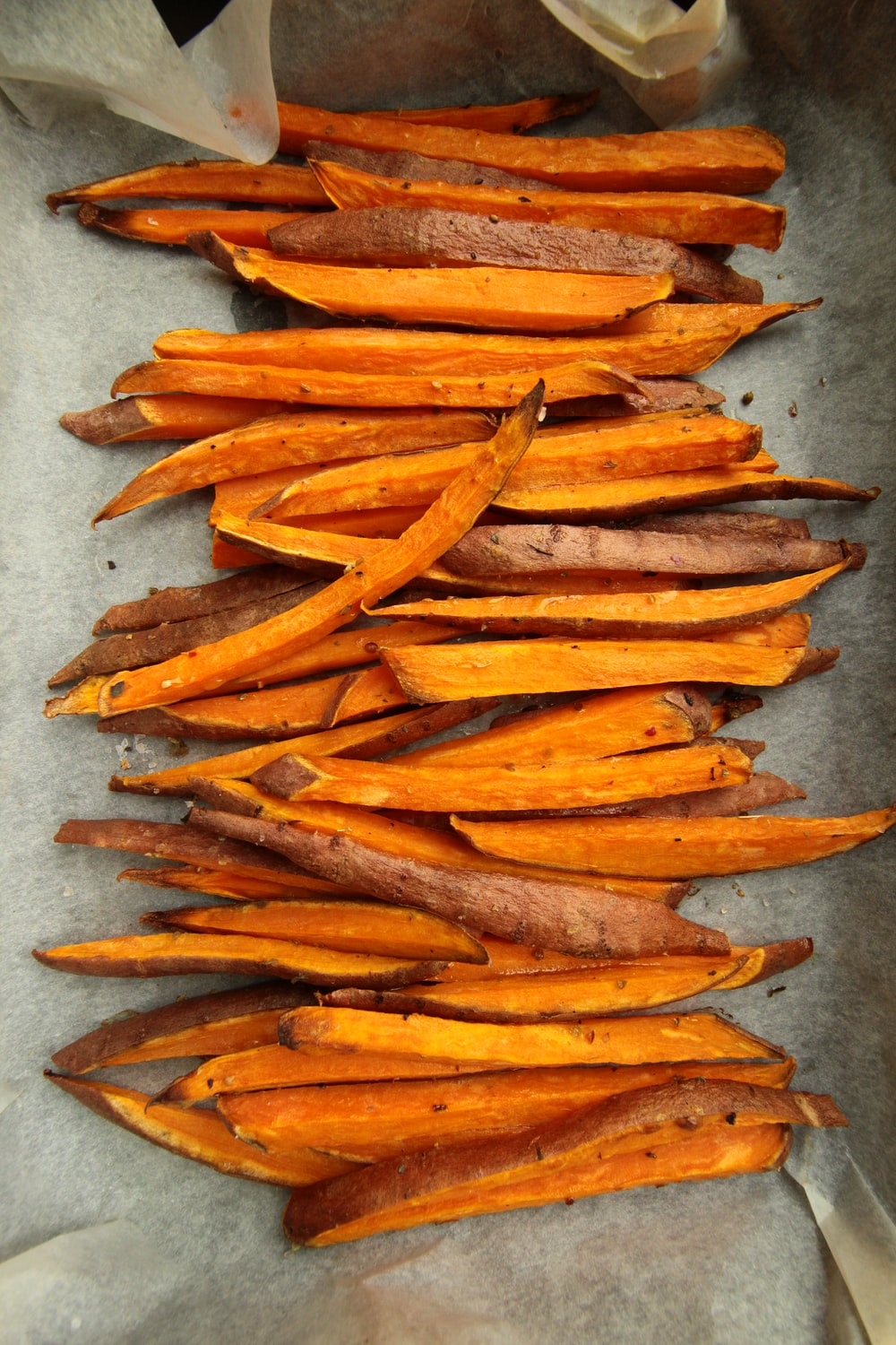 sliced carrots on gray surface