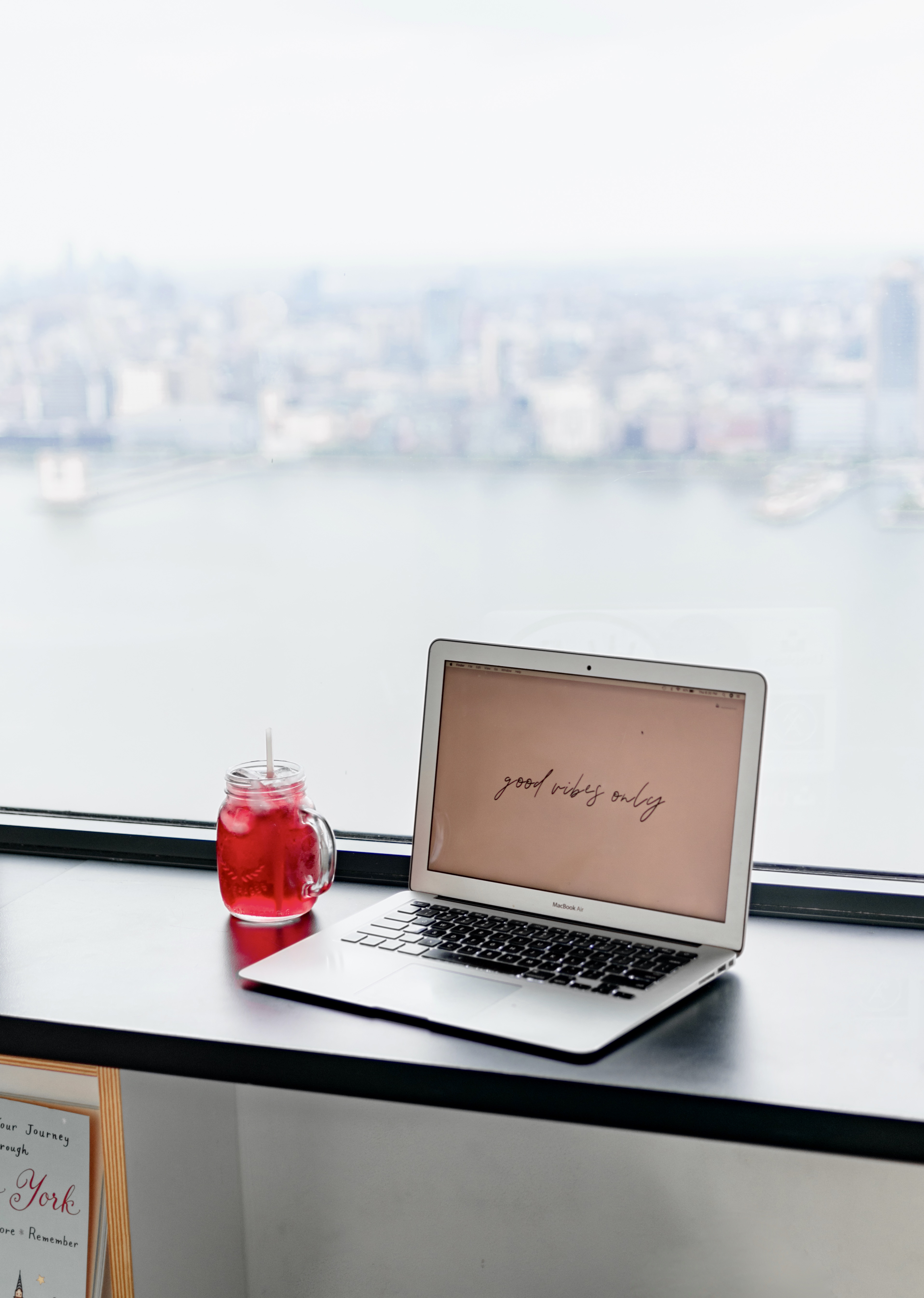 City home office with water views.