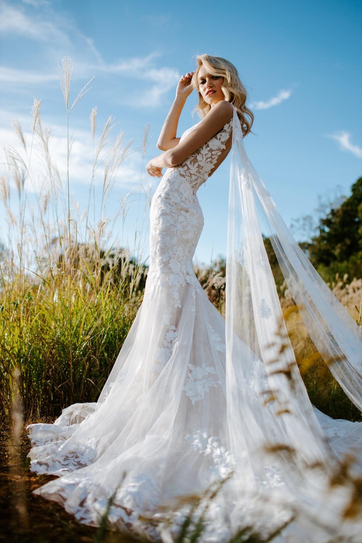 wedding dress in field