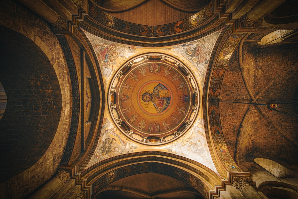 brown and beige round ceiling