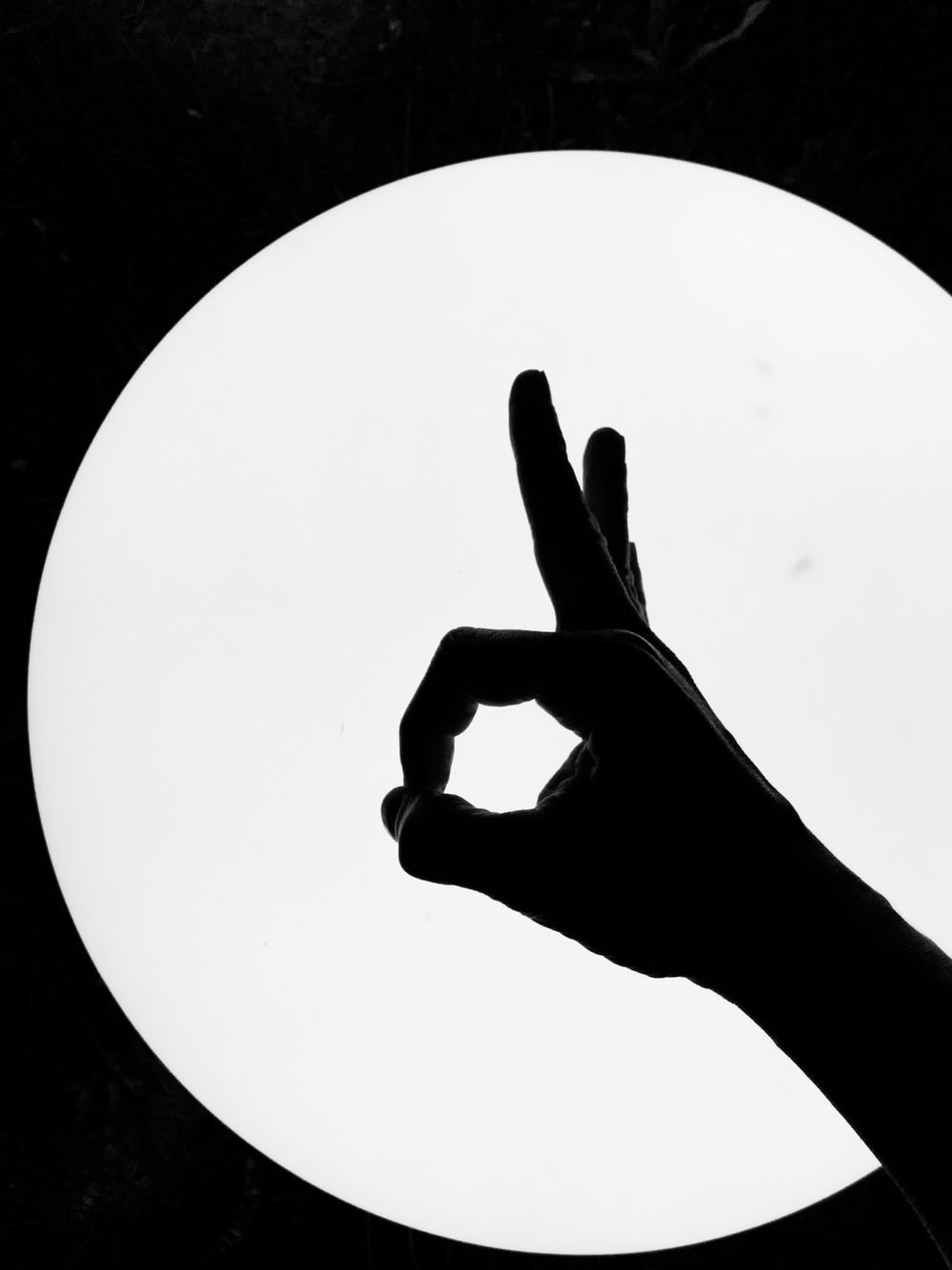 persons hand forming peace sign