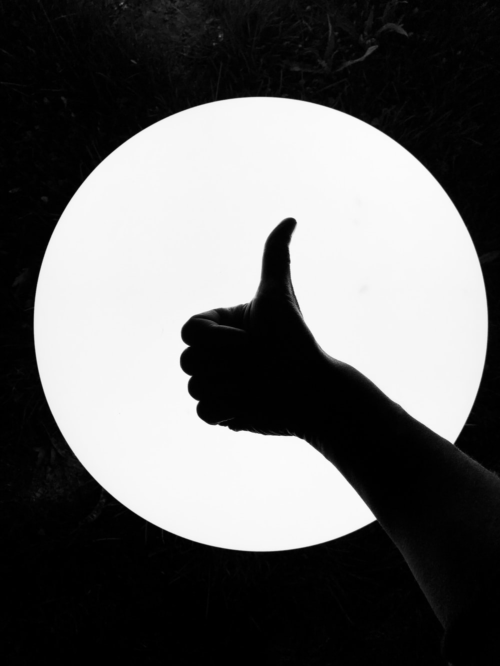 persons hand on white round board