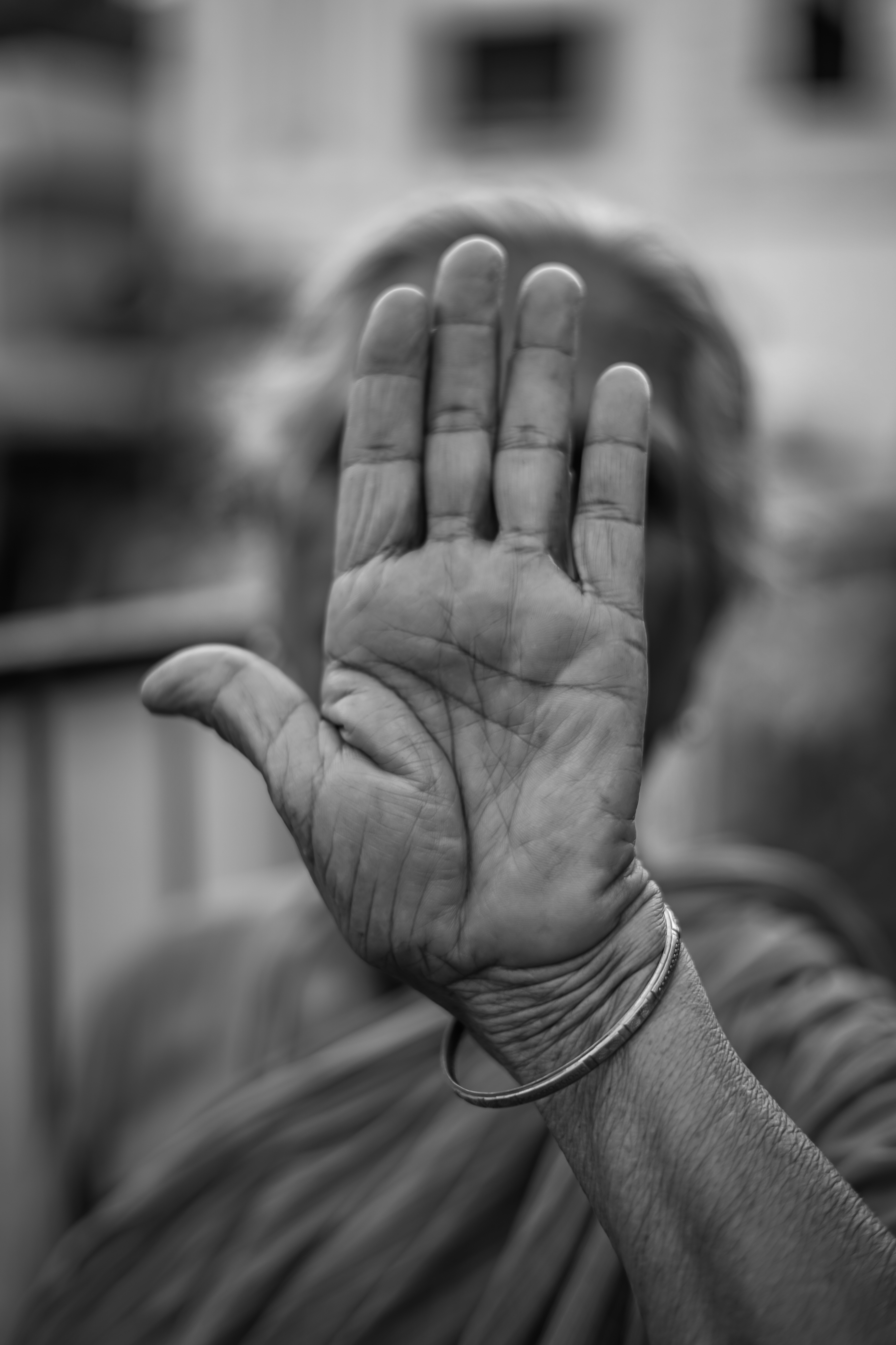 grayscale photo of persons left palm