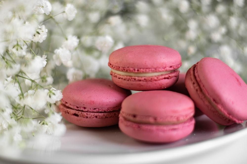 pink macaroons on white ceramic plate