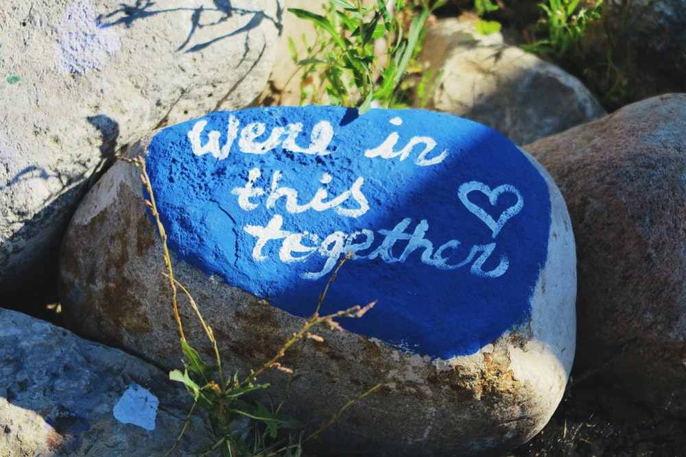 blue and white stone with i love you print
