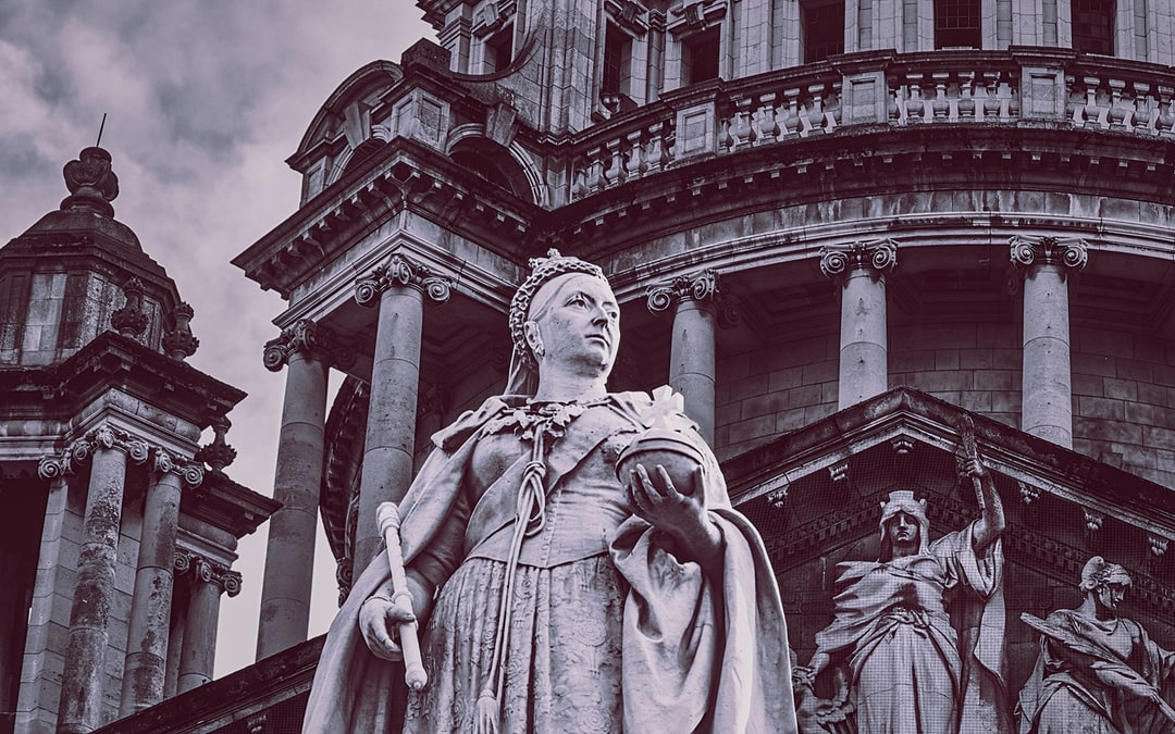 Queen Victoria holds court at Belfast City Hall with Athena Nike (goddess of truth, justice, wisdom, and victory) looking over her shoulder (Oct., 2019).