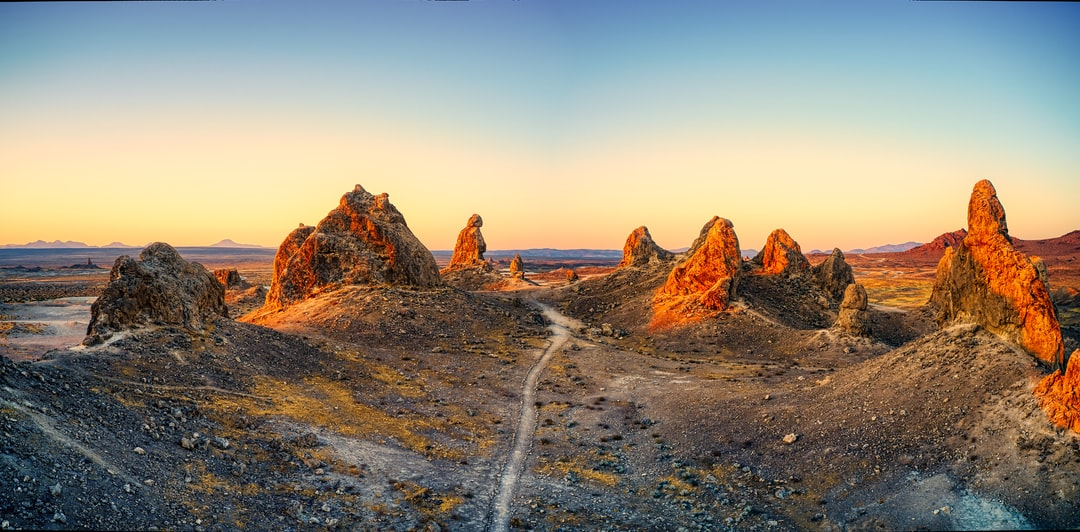 Aerial HDR pano of Trona Pinnacles at sunrise.