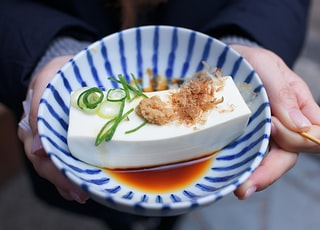 person holding white and blue ceramic plate with rice and sliced cucumber