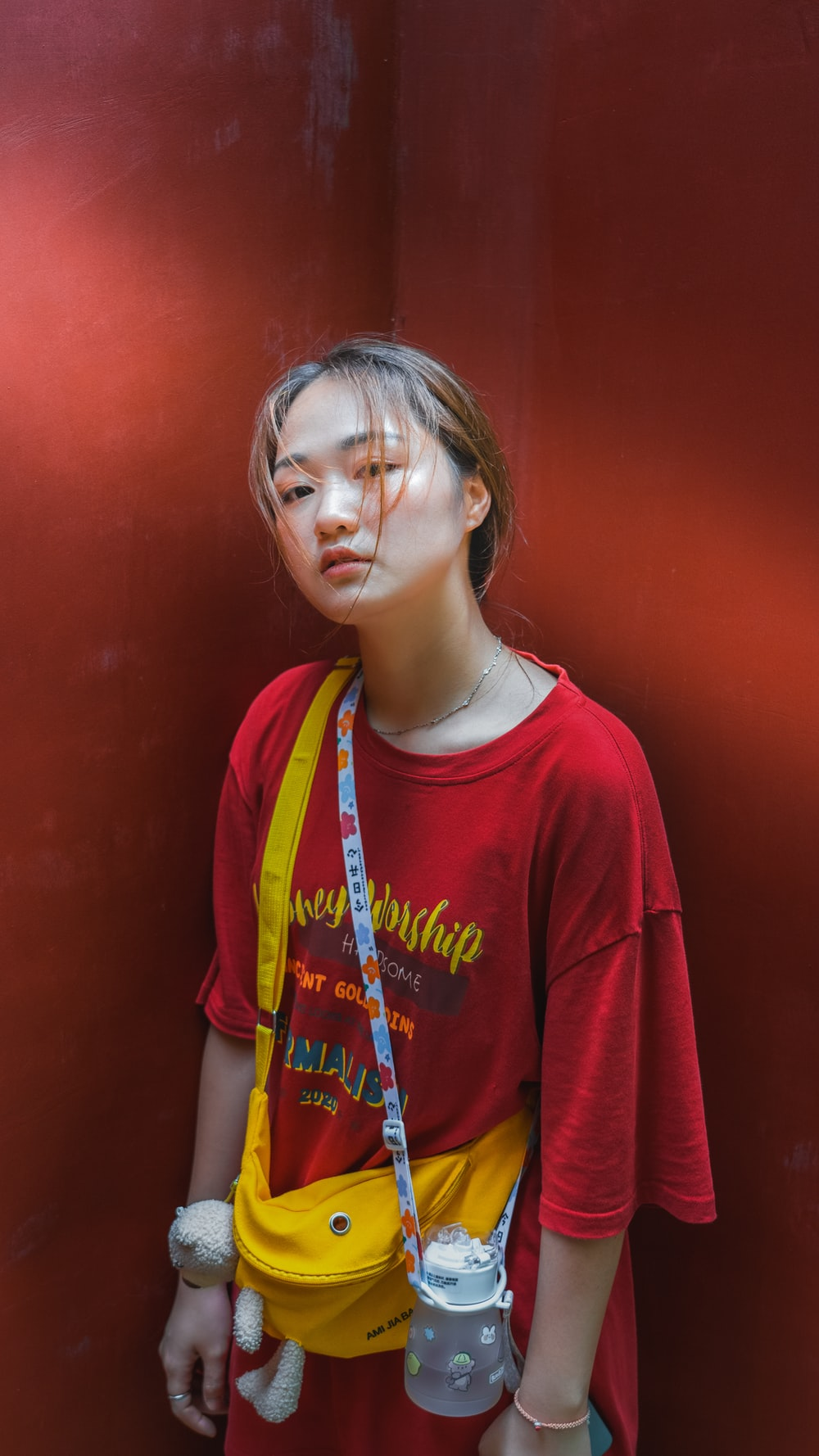 girl in red crew neck t-shirt