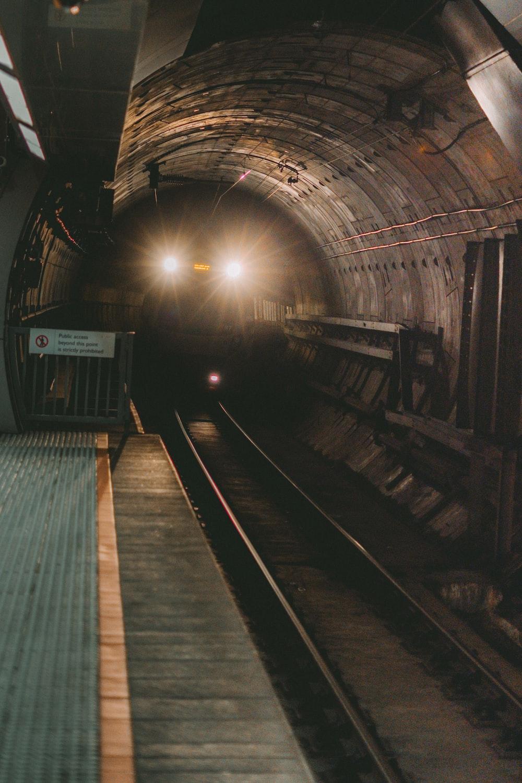 train rail tracks in tunnel