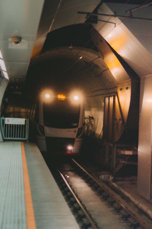 white train in train station