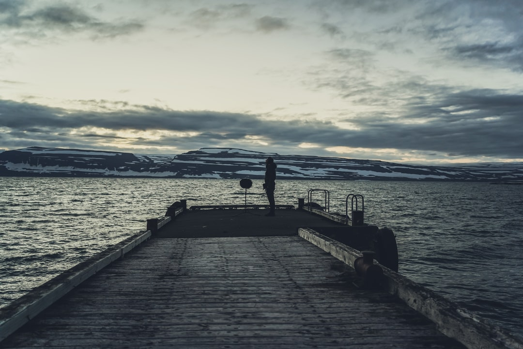 Recording calm ocean waves on an abandoned pier at 3 am on a summer night in Iceland.