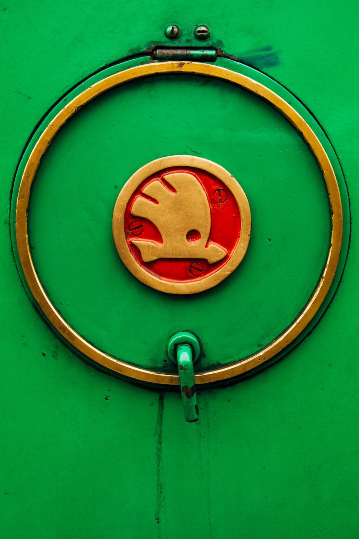 red and brown round door