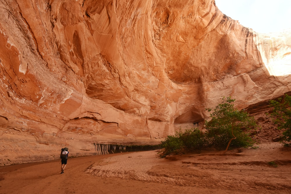 person walking on brown sand near brown rock formation during daytime