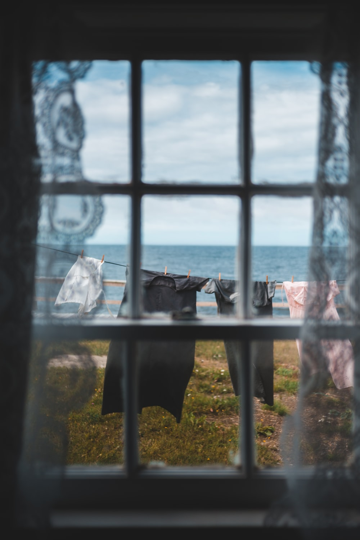 black metal frame glass window