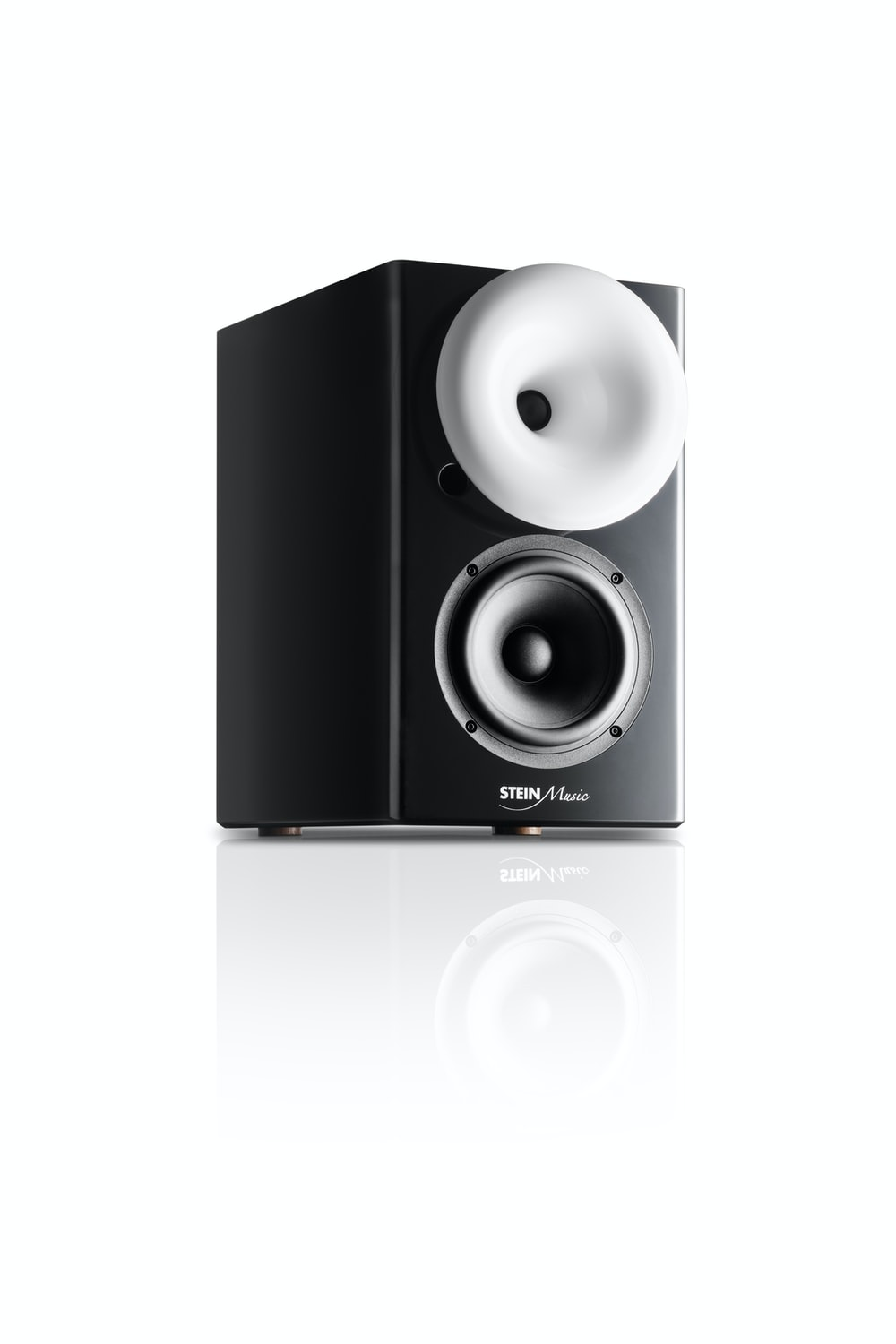 black and silver speaker on white background