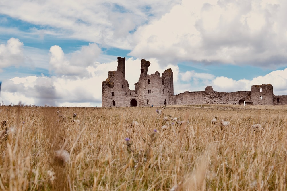 brown grass field near gray concrete castle under white clouds and blue sky during daytime