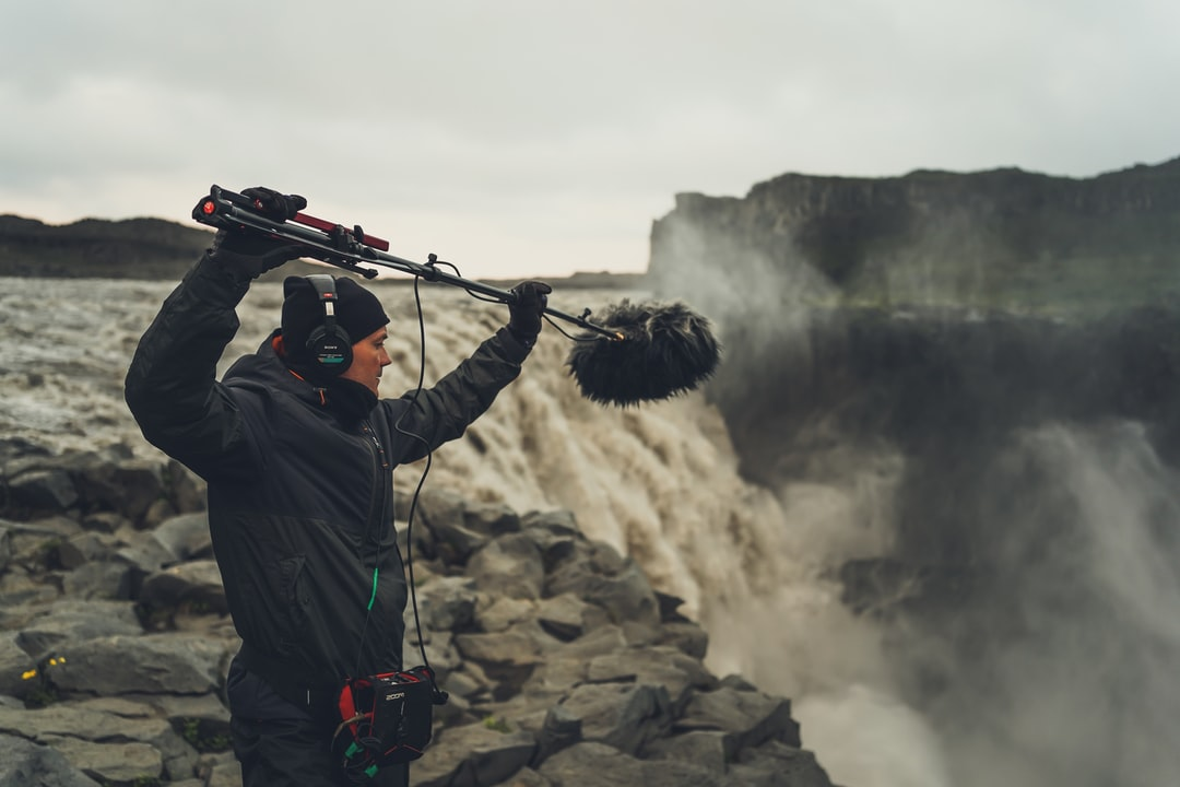 Recording waterfall sounds at Dettifoss! If you have  watched Prometheus opening scene you will remember this waterfall.