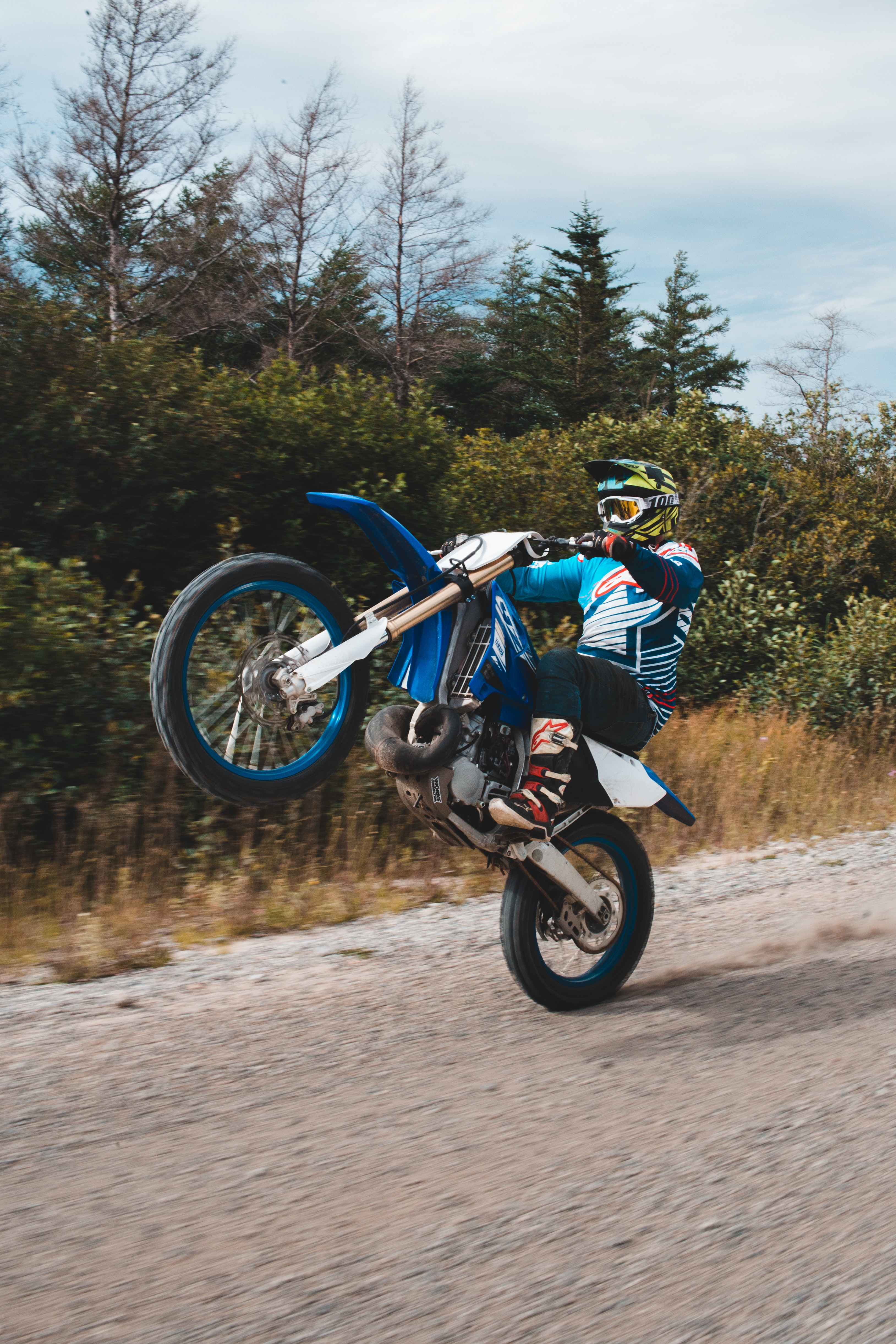 Man In White And Blue Racing Suit Riding Blue Motocross Dirt Bike Photo Free Machine Image On Unsplash