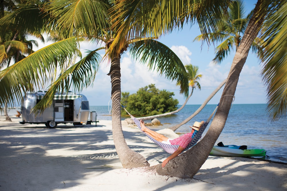 blue hammock hanged on palm tree