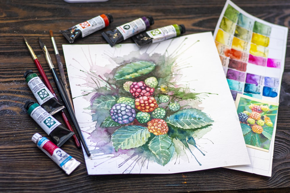 green and red fruit painting