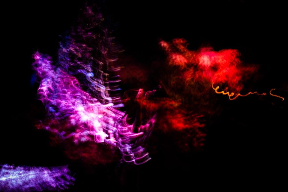 purple and orange fireworks display