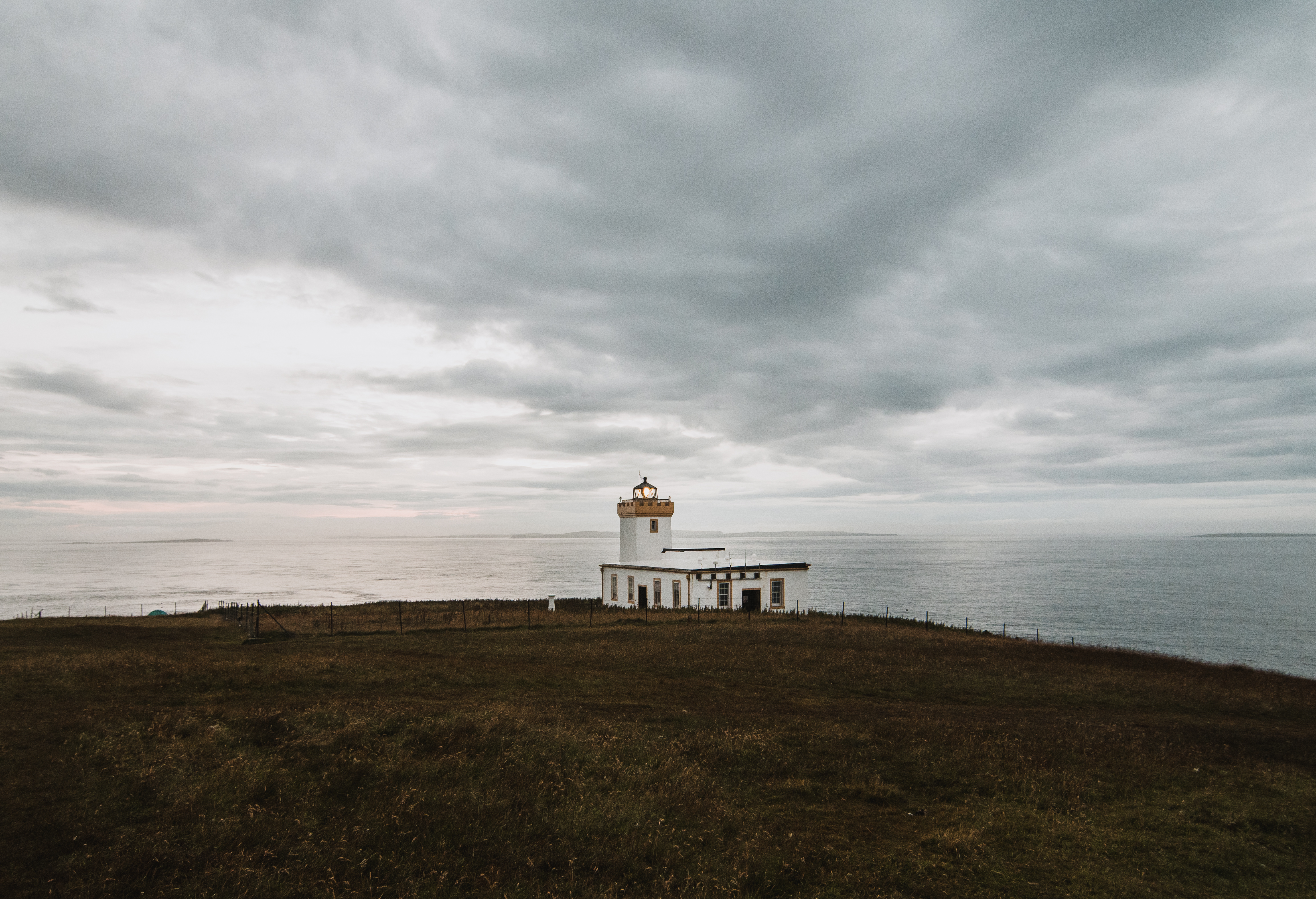 A lighthouse in operation near duncansby head