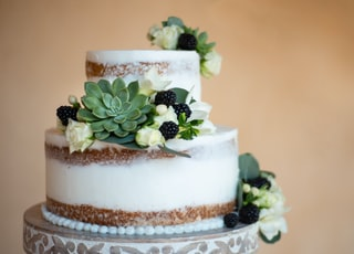 white and brown cake with green leaf on top