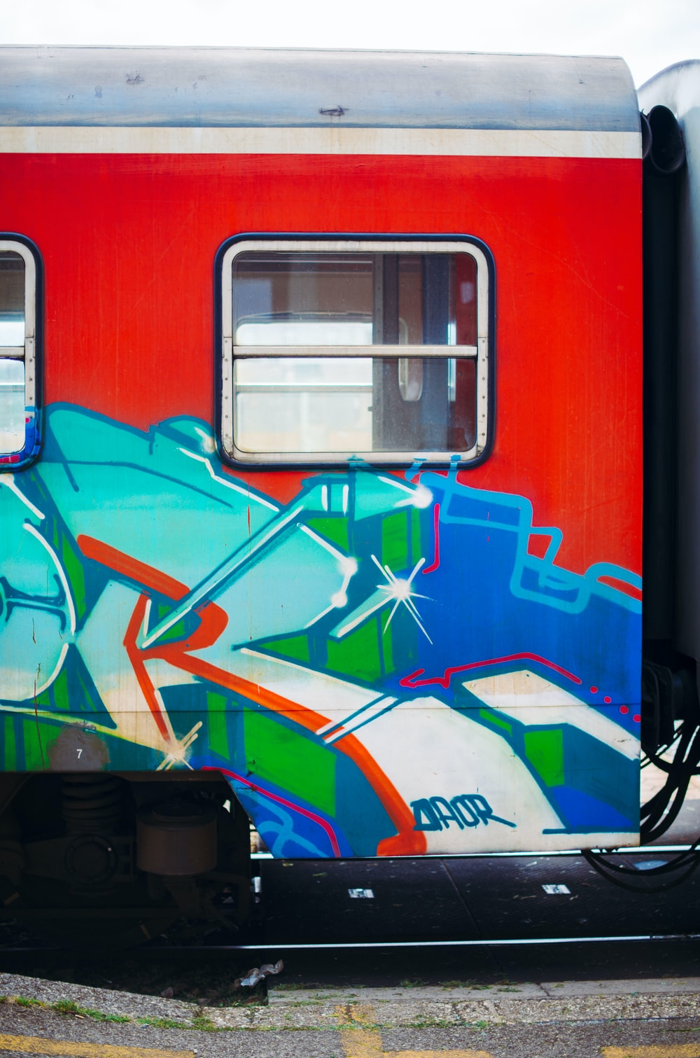 red blue and white train