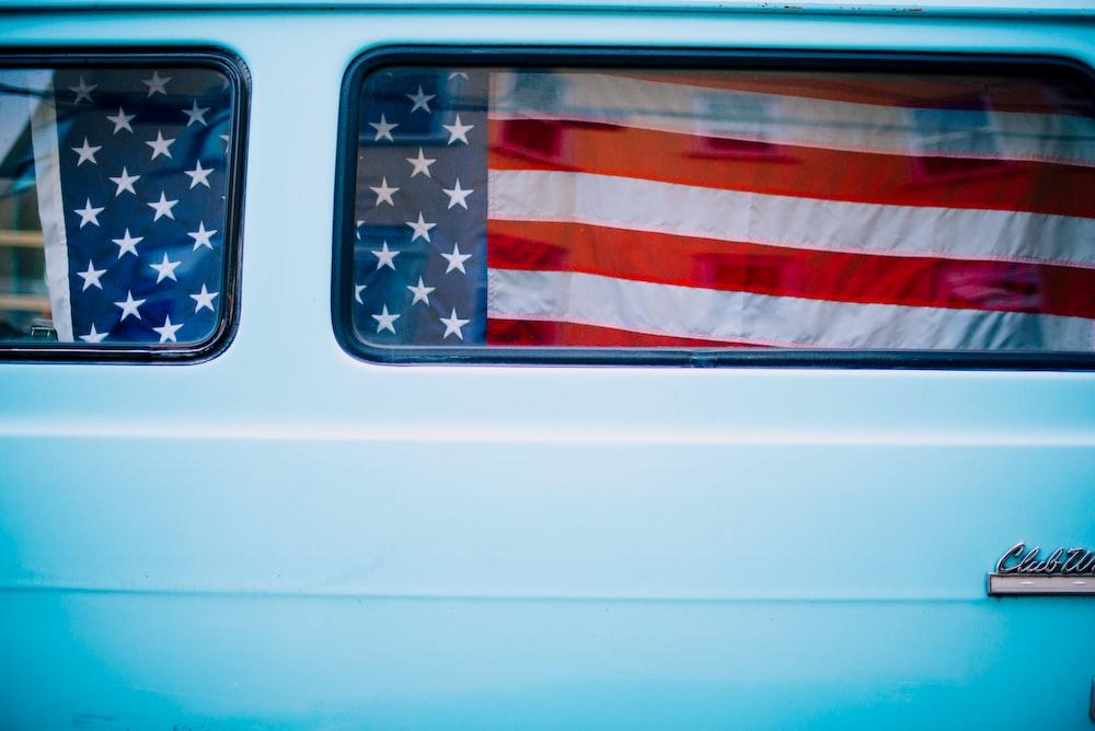 us a flag on white car