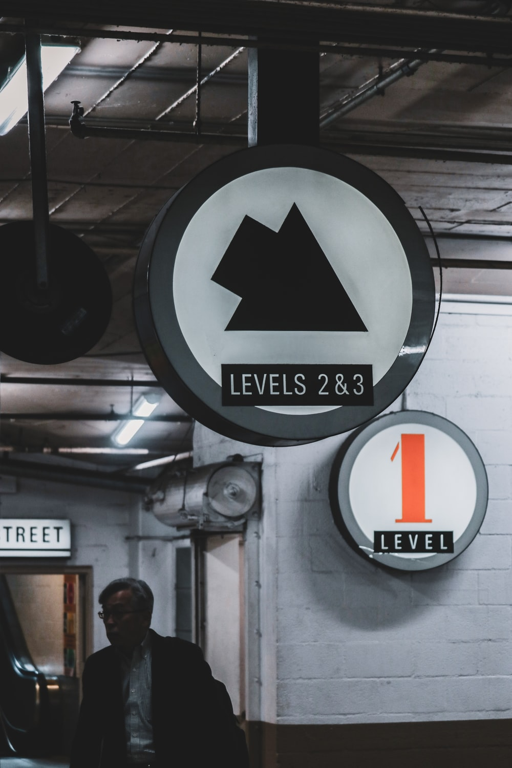 black and white round arrow sign