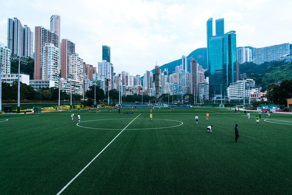 people playing soccer on green grass field during daytime