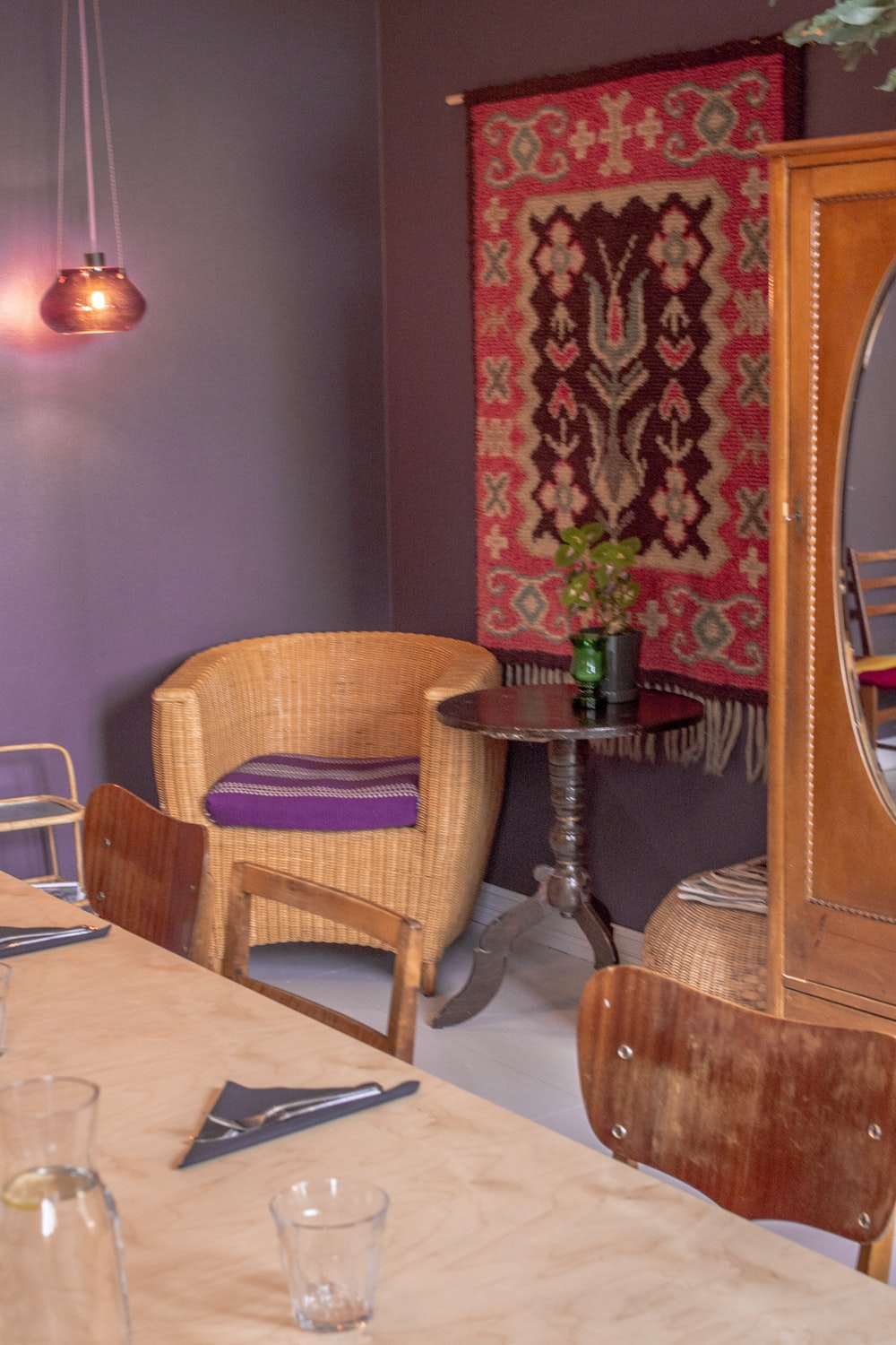 brown wooden chair beside table