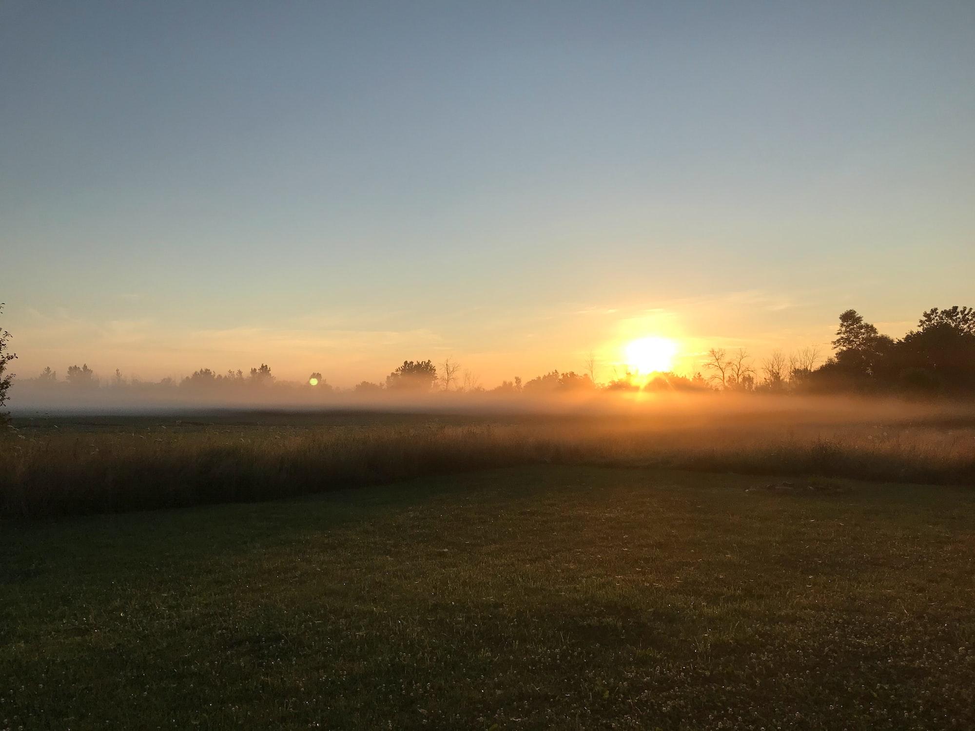 Утренний туман и солнце