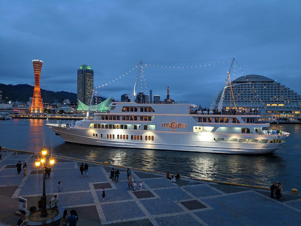 white cruise ship on dock during night time