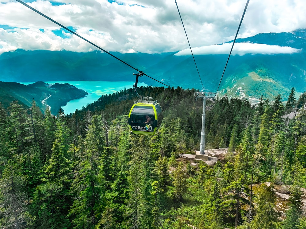 green and black cable car over green pine trees under blue sky during daytime
