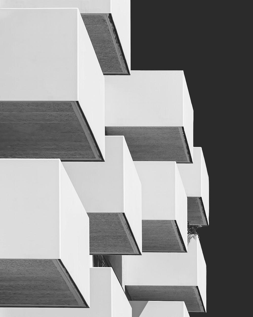 gray and white blocks illustration
