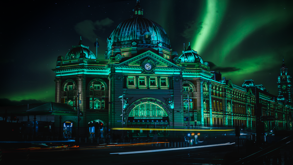 green dome building during night time