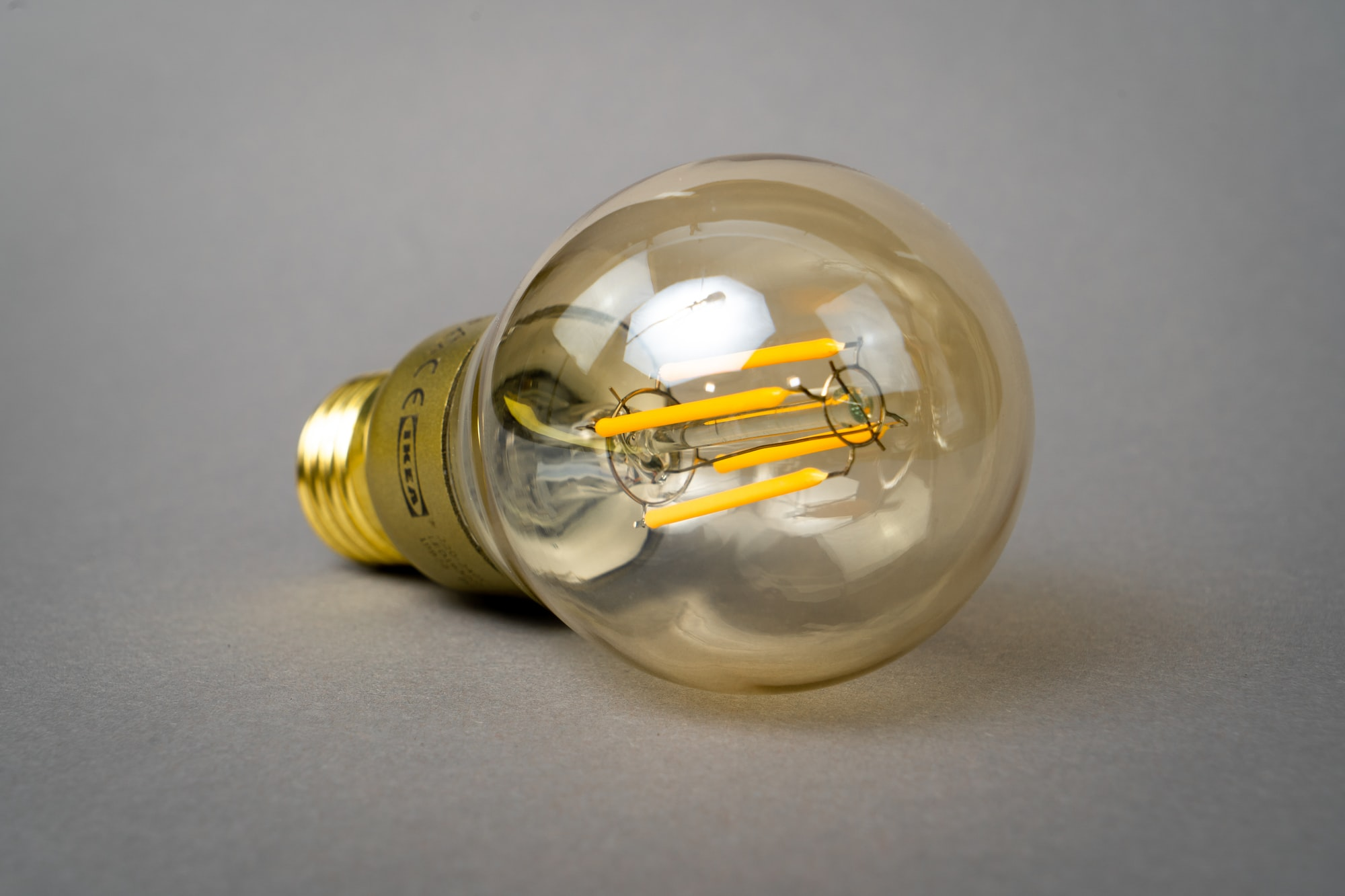 a retro lamp with LED filament to get the look of ancient filament bulbs.