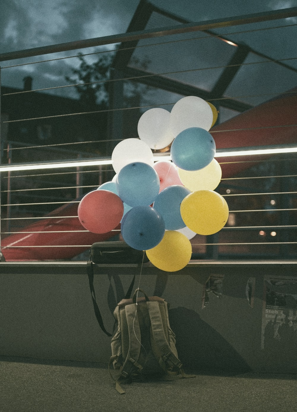 white blue and red balloons
