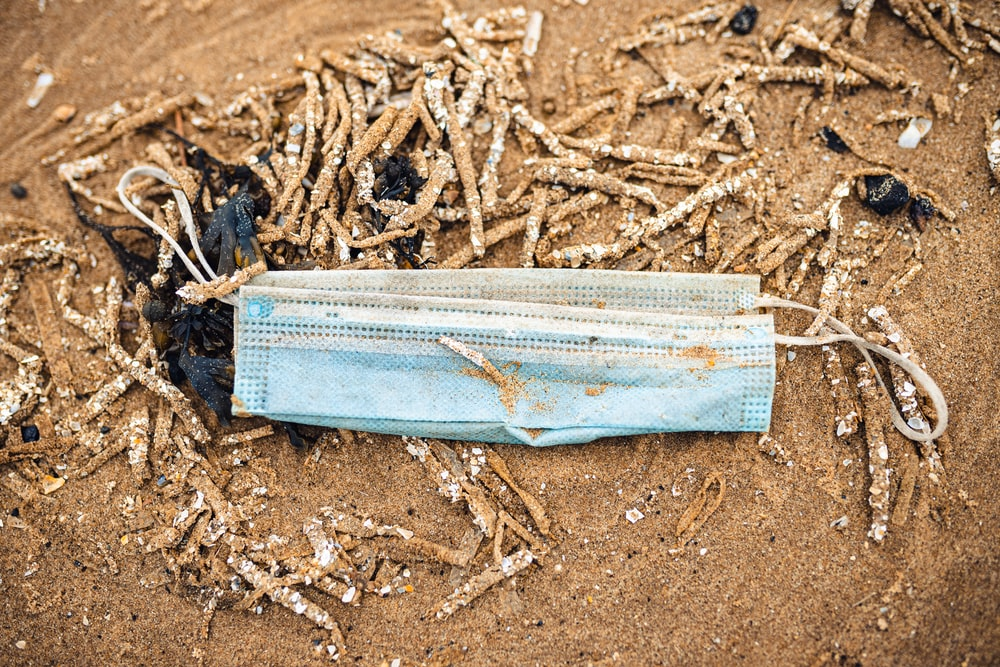 white plastic pack on brown soil