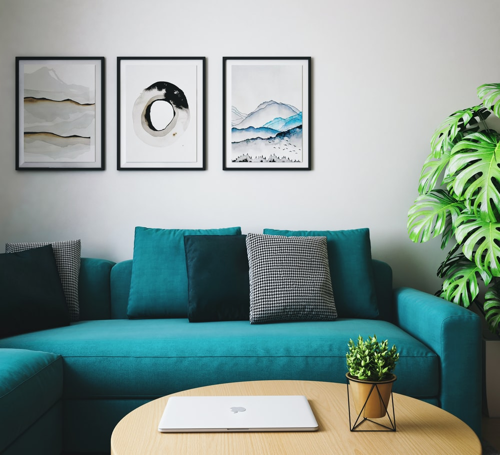 black and white throw pillows on white couch