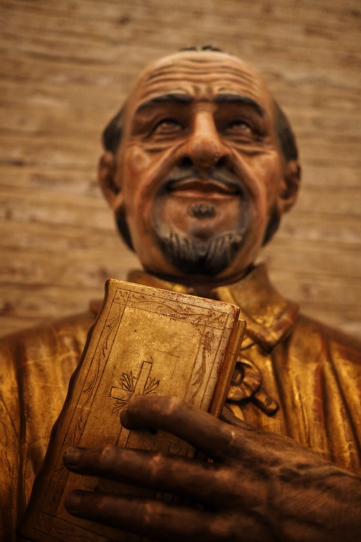 man in brown dress shirt holding book figurine