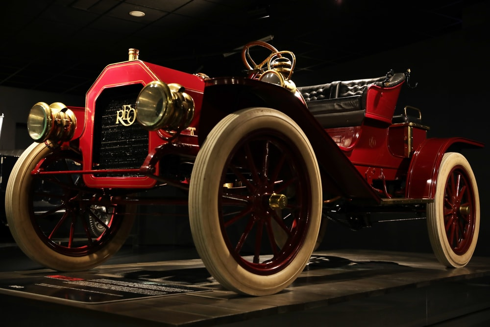 red and black vintage car