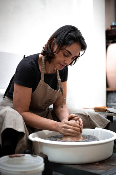 A potter molding