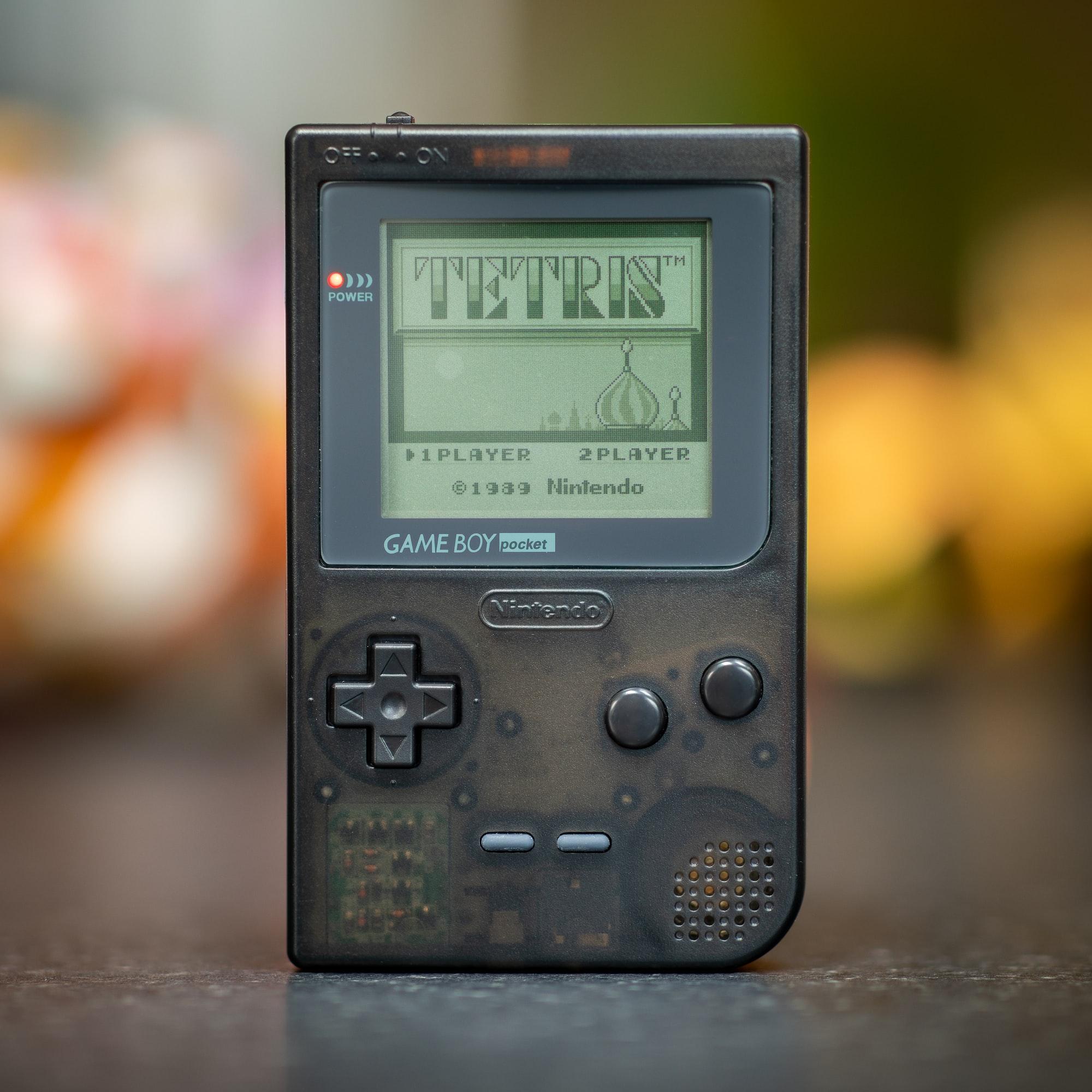An original Nintendo Gameboy Pocket that has had a new RetroSix semi transparent shell applied.