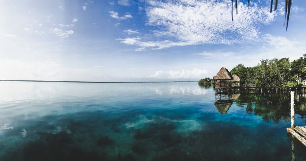 brown wooden house on body of water under blue sky during daytime
